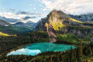 Бесплатные фото Grinnell Lake,Glacier National Park,горы,лес,деревья,озеро,пейзаж