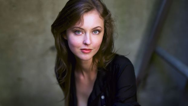 Beautiful brown-haired Katherine Isabelle