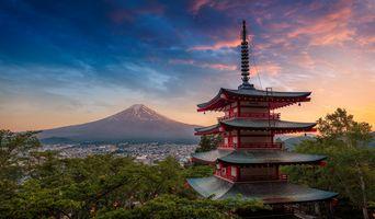 Бесплатные фото Япония,Гора Фудзи,Яманаси,закат,пейзаж