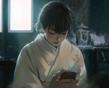 Photo free anime girl, semi realistic, kimono