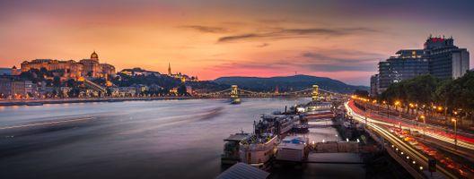 Фото бесплатно Budapest, Будапешт с Будайским замком, Цепным мостом