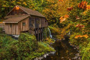 Photo free water mill, waterfall, landscape