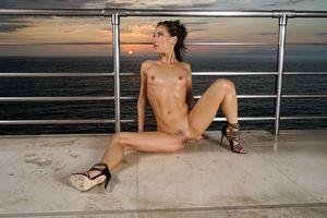 Бесплатные фото Kalina Ryu,Lily Ocean,брюнетка,море,закат,голая,грудь