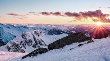 Заставки закат, горы, снежные холмы