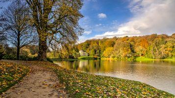 Фото бесплатно Stourhead Gardens, Wiltshire, UK, осень, парк, деревья, водоём, пейзаж