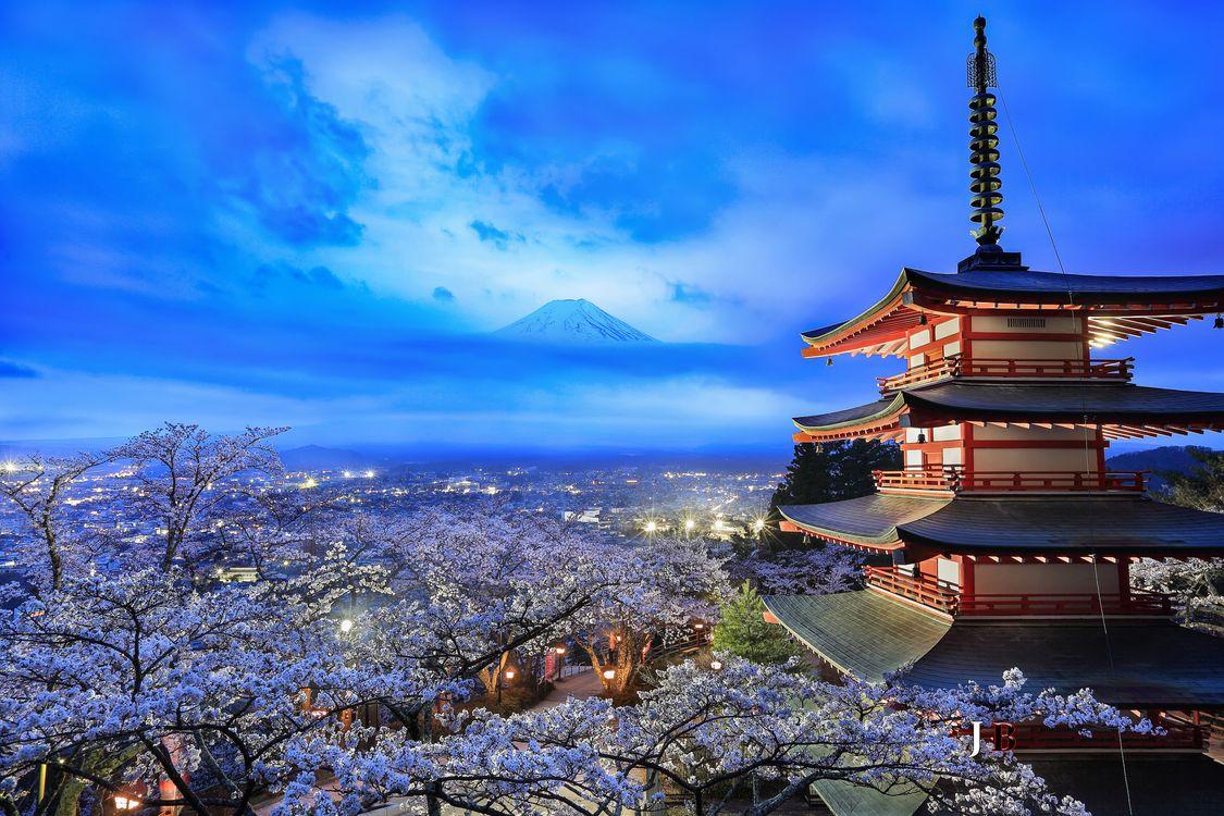 Фото бесплатно Япония, Гора Фудзи, Яманаси, сакура, пейзаж, пейзажи
