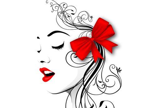 Рисунок девушки с красным бантиком