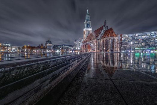 Бесплатные фото Германия,Берлин,город,ночь,иллюминация,огни,ночные города