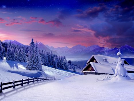 Заставки зима, закат, сугробы