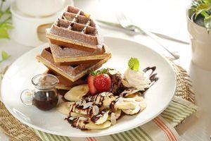 Бесплатные фото фрукты,завтрак,вафли,шоколад
