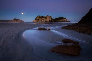 Бесплатные фото Новая Зеландия,New Zealand,море,сумерки,скалы,берег,пляж