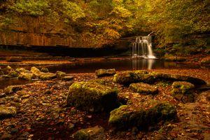 Фото бесплатно осенний водопад, осень, лес