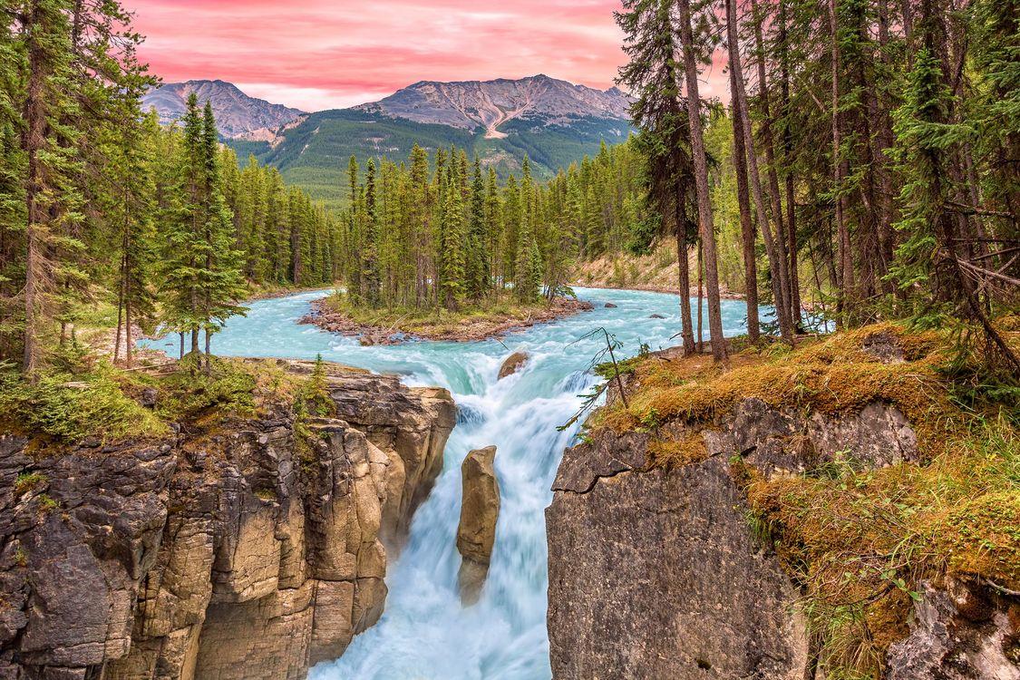 Фото бесплатно Sunrise at Sunwapta Falls, Jasper National Park, Alberta, Восход солнца в водопаде Санвапта, Национальный парк Джаспер, Альберта, Канада, горы, деревья, скалы, водопад, пейзаж, пейзажи