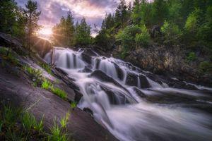 Фото бесплатно закат, водопад, Норвегия