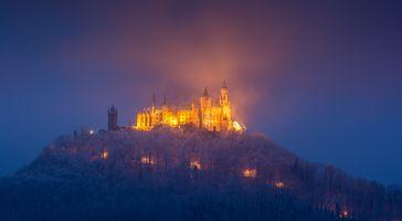 Заставки старый замок, замок Гогенцоллернов, Баден-Вюртемберг
