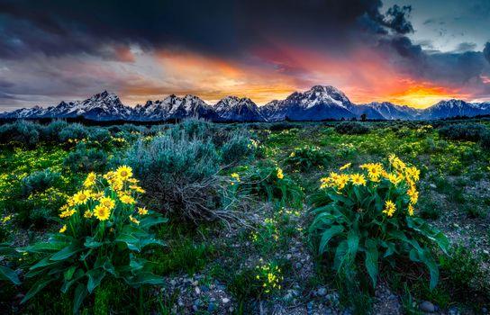 Фото бесплатно Национальный парк Гранд Тетон, Гора Моран, закат солнца