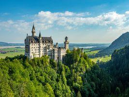 Бесплатные фото Замок Нойшванштайн,Neuschwanstein Castle,Хоэншвангау,Ландшафт,Людвиг,Нойшванштайн,Альпы