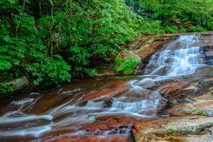 Бесплатные фото водопад,зелёный,лес,скалы,речка,деревья,мох