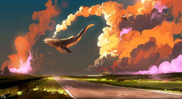 Бесплатные фото искусство,искусство фантастики,кит,животные,дорога