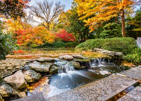 Фото бесплатно Fort Worth, United States, осень, река, парк, водопад, камни, деревья, осенние краски, пейзаж