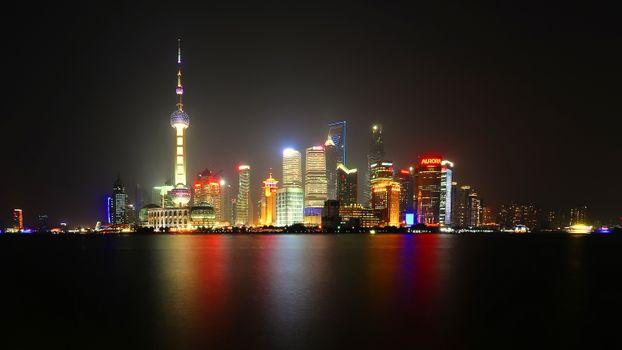 Ночной Шанхай · бесплатное фото