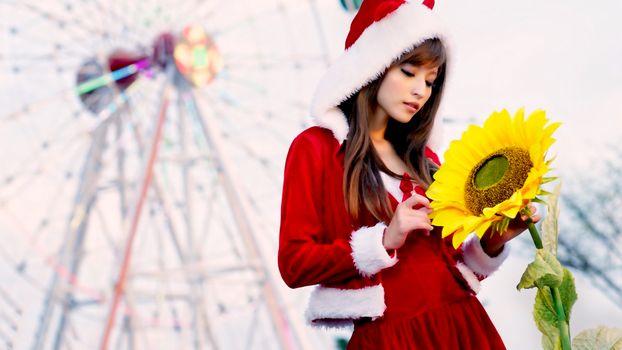 Бесплатные фото модели,азиатки,брюнетки,чувственные губы,Санта,цветок,подсолнух,Рождество,мягкий фокус