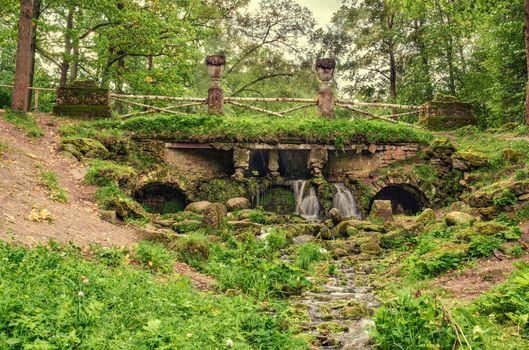 Фото бесплатно Павловский парк, каменный мостик, Россия, Санкт-Петербург мост, водопад, пейзаж