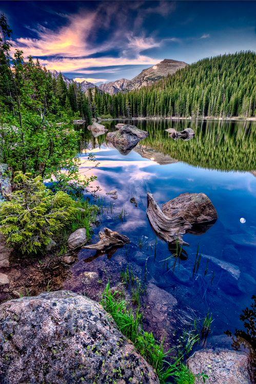 Фото бесплатно Rocky Mountain National Park, Bear Lake, закат, озеро, лес, деревья, камни, отражение, горы, пейзаж, пейзажи