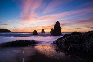 Фото бесплатно океан, скалы, закат
