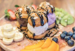 Заставки десерт, мороженое, шоколад, ягоды