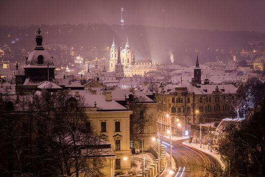 Заставки освещение, город, Прага