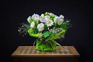 Фото бесплатно черный фон, композиция из цветов, тюльпаны