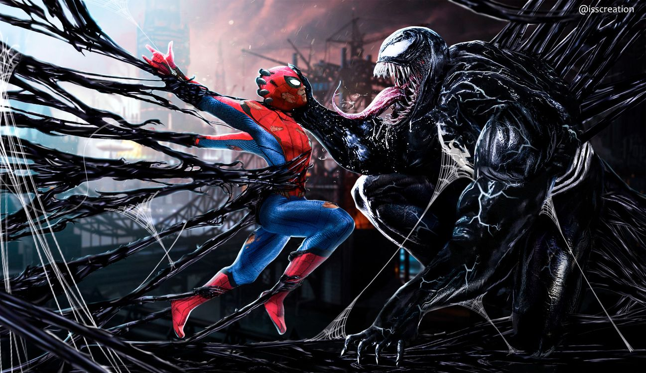 Обои Spiderman, Venom, Digital Art картинки на телефон