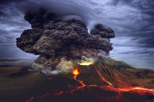 Заставки вулкан,извержение,лава,небо,выброс,дым,облака,жар