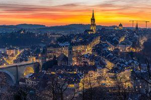 Фото бесплатно город, Швейцария, огни