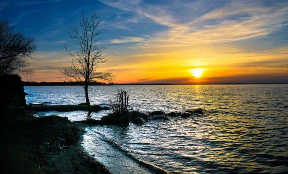 Заставки Золотой закат, озеро Симко, Онтарио