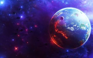 Фото бесплатно Селена, Галактика, планеты