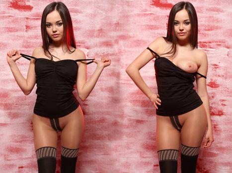 Бесплатные фото сексуальный,Ли Мун,Кики,колготки,коллаж,брюнетка,раздевается,сиськи