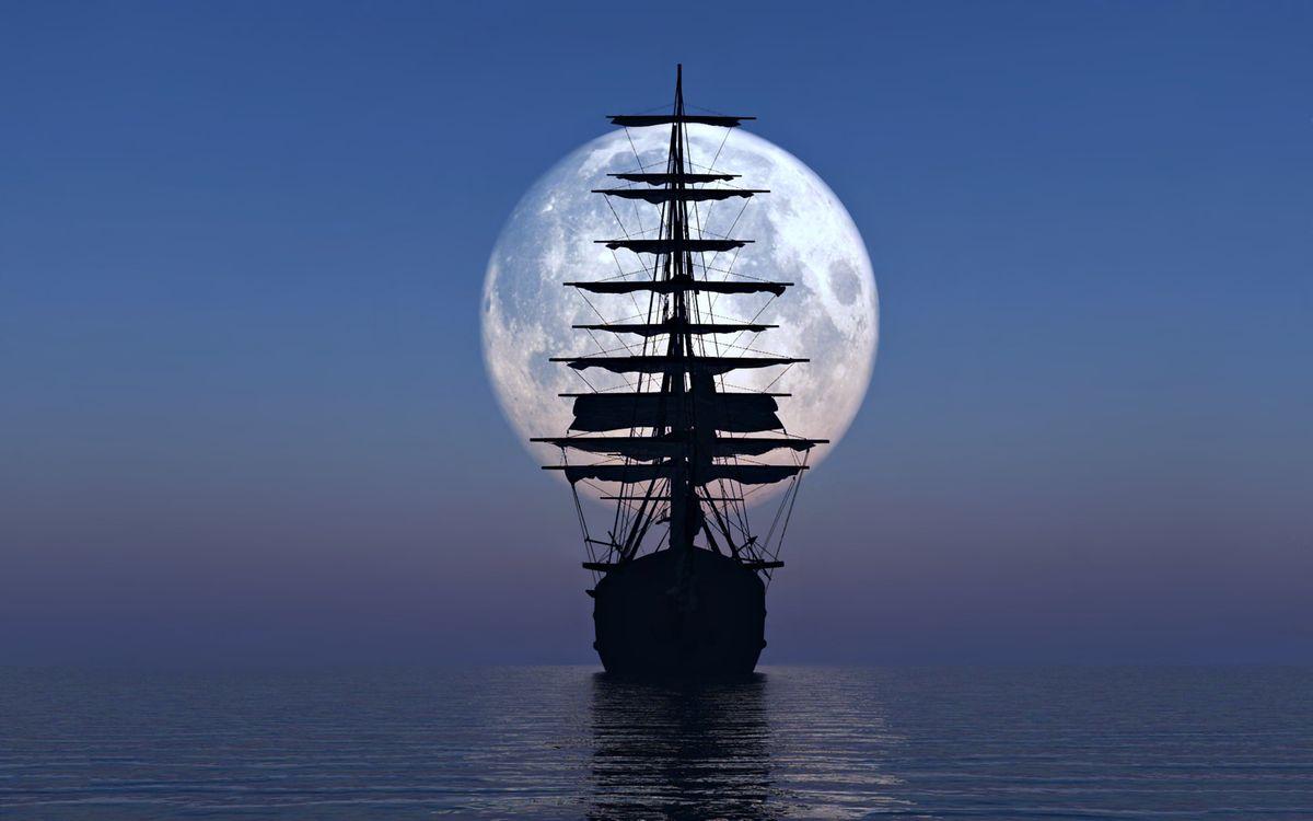 Фото бесплатно лодка, Луна, океан - на рабочий стол