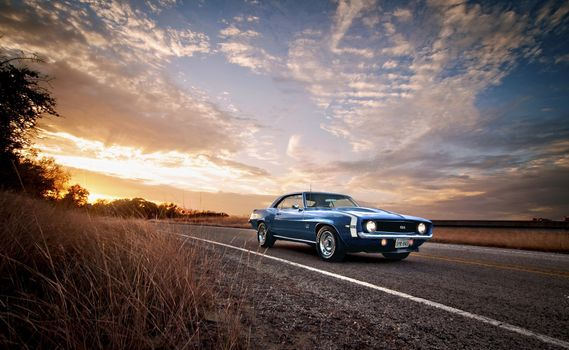 Photo free Chevrolet Camaro, blue, road