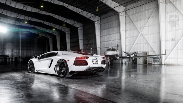 Photo free lamborghini aventador, garage, supercars