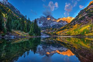 Бесплатные фото Maroon Bells,Aspen,Colorado,United States,озеро,осень,горы