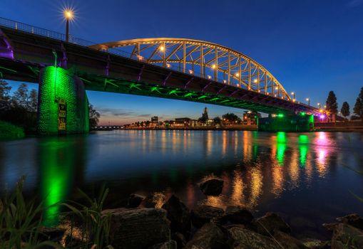 Photo free the Rhine, twilight, Netherlands