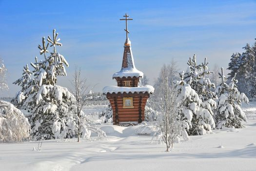 Бесплатные фото Russia,Winter landscape,зима,снег,сугробы,деревья,часовня,домик,святой,пейзаж