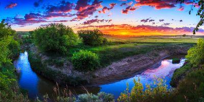 Фото бесплатно Северная Дакота, закат, речка