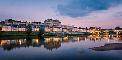 Фото бесплатно Долина Луары, Замок Амбуаз, Франция, Замки Луары Королевский замок Амбуаз, закат, город, панорама