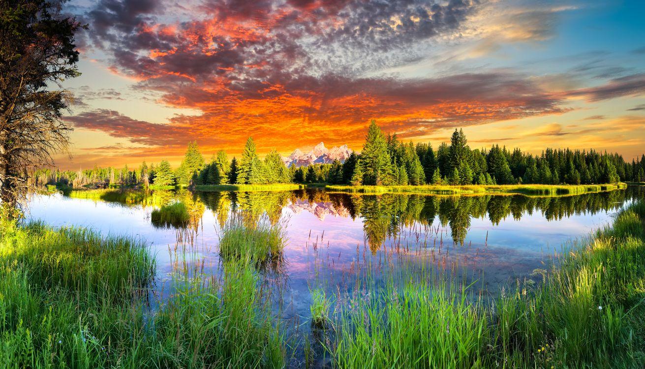 Фото бесплатно Snake River and Tetons, Wyoming, закат - на рабочий стол