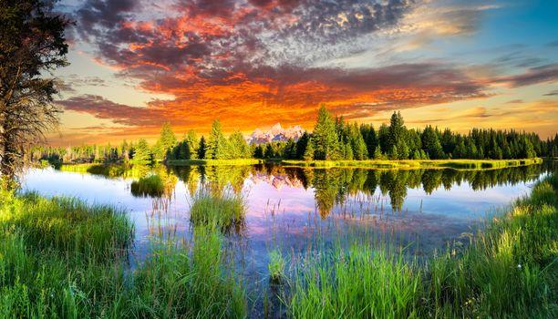 Бесплатные фото Snake River and Tetons,Wyoming,закат,река,деревья,небо,пейзаж