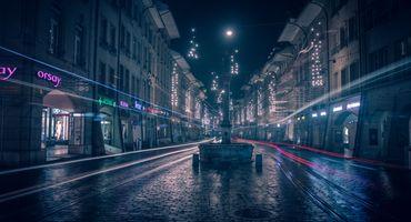 Заставки Берн, ночные улицы, брусчатка
