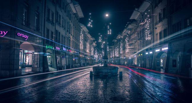 Фото бесплатно Берн, ночные улицы, брусчатка